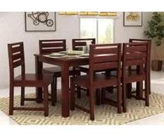 Dining Table 6 Chairs Top Glass For Sale