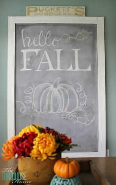 Hello Fall Chalkboard Art One aspect of my home that I love is my huge DIY chalkboard in my eat-in kitchen. I love that this wall holds one large decor item that I can easily change with every season or every whim. Fall Chalkboard Art, Chalkboard Ideas, Thanksgiving Chalkboard, Chalkboard Doodles, Chalkboard Drawings, Chalkboard Lettering, Chalkboard Paint, Thanksgiving Table, Chalkboard Quotes