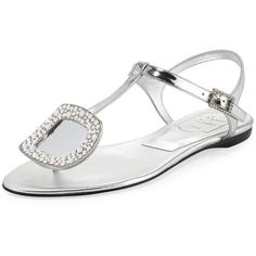 Roger Vivier Chips Strass Buckle Flat Sandal ($875) ❤ liked on Polyvore featuring shoes, sandals, grey, grey sandals, grey flats, ankle strap sandals, buckle sandals and flat pumps #rogerviviersandals