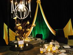 Flowers, Reception, Centerpiece, Decor, Yellow, Lighting, Black, Candles, Orchids, Tree, Crystals, Cymbidium, Chandelier, Markei events productions, Tapers