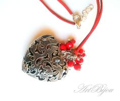 Heart Pendants – Heart Pendant, Long Red Heart Necklace, Crystal – a unique product by ArtBijou on DaWanda