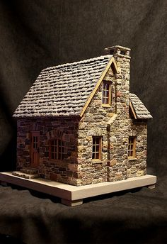 miniature stone cottage and a very nice base
