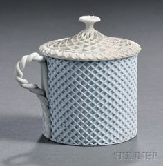 Wedgwood Solid White Jasper Custard Cup and Cover, England, c. 1800