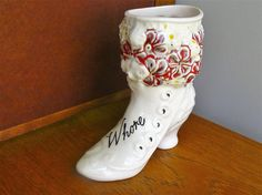 Whore hand painted vintage china boot shaped by trixiedelicious