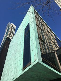 The pre-aged copper façade of the Fourth Presbyterian Church in Chicago by Gensle Aged Copper, Antique Copper, Contemporary Architecture, Architecture Details, Custom Bunk Beds, Somewhere Over, Patina Finish, Corten Steel, College Campus