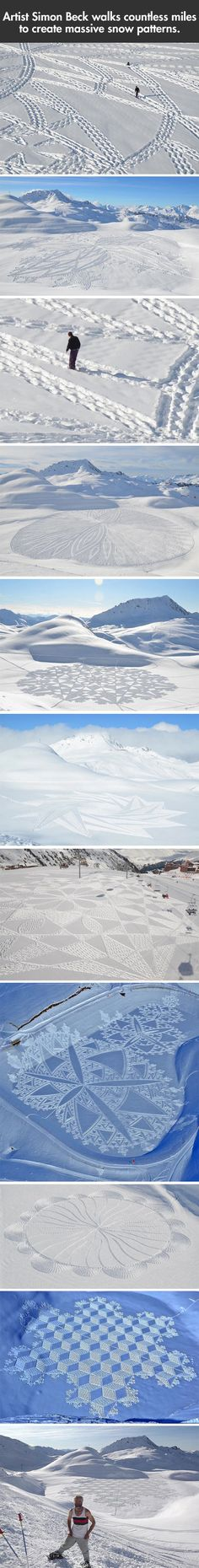 This guy walks miles to make art that disappears days later.the arctic version of crop circles. This would keep kids occupied for hours on snow days. Land Art, Drawn Art, Creation Art, Snow Art, Amazing Art, Awesome, Amazing Things, Picture Day, Wassily Kandinsky