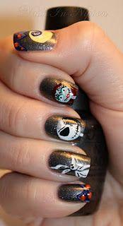 Nightmare Before Christmas Nails (tutorial)