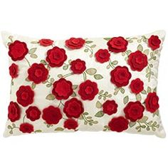 Available at Pier 1 Looking for some nice Valentine Decorations? I'm working at Pier 1 quite a bit these days so I thought I'd share . Felt Flower Pillow, Felt Pillow, Felt Material, Floral Theme, Family Crafts, Felt Flowers, Felt Roses, Valentine Decorations, Toss Pillows