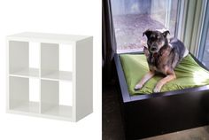 You can also hack an Ikea shelf for a super-modern dog bed. | 25 Genius Hacks That Make Having A Dog So Much Easier