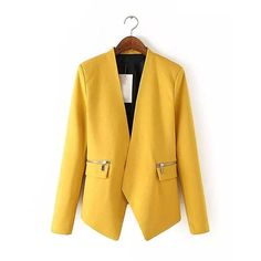 Yoins Yoins Yellow Blazer (54 BAM) ❤ liked on Polyvore featuring outerwear, jackets, blazers, blazer, coats & jackets, yellow, quilted jacket, yellow blazer, yellow jacket and knit jacket