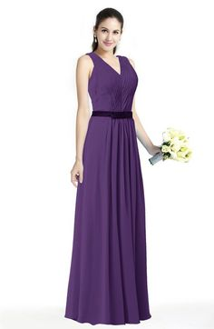 7f9d388e7cc Traditional V-neck Sleeveless Chiffon Floor Length Ruching Plus Size  Bridesmaid Dresses Bridesmaid Dresses Plus