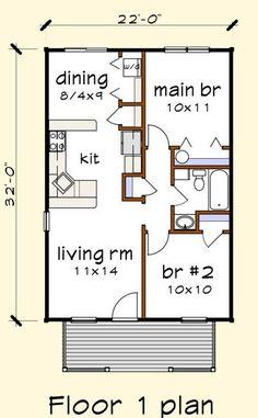 Bunkhouse Plans 681380618603629073 - Floorplan Image for Plan Source by Small Cabin Plans, Small House Floor Plans, Cabin House Plans, Cottage Floor Plans, Bungalow House Plans, Tiny House Cabin, Cottage Plan, Bedroom House Plans, Craftsman House Plans