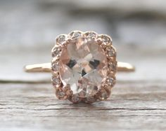 2.25 Cts. Peach Morganite Halo Diamond Ring 14K Rose by Studio1040