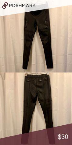 Black leggings Brand:  Express Size:  XS Material:  Pleather Worn:  like new Faux zipper pockets, moto-style Express Pants Leggings