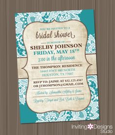 Bridal Shower Invitation, Burlap, Lace, Teal, Brown, Rustic, Chic, Vintage (PRINTABLE FILE) by InvitingDesignStudio on Etsy