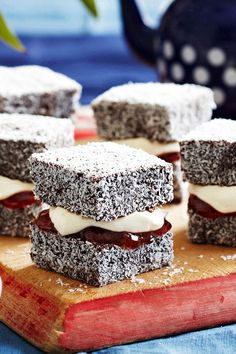 Mix up that traditional Aussie treat with some jam and cream. Perfect with a cup of tea or coffee, there's a reason lamingtons are such a staple Australian dessert. Mini Desserts, Just Desserts, Traditional Australian Food, Australian Desserts, Australian Recipes, Aussie Food, Aussie Bbq, Garden Party Cakes, Cake Recipes
