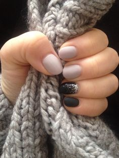 Grey and black nails