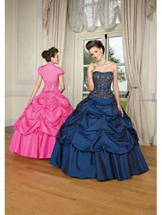 Taffeta Softly Curved Neckline Embroidered Bodice Quince Dress