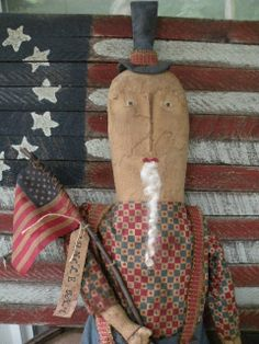 Primitive Folk Art Uncle Sam Doll