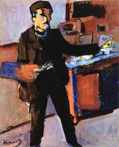 André Derain (1880-1954) - Self-portrait in studio, c. 1903 - Oil on canvas. (National Gallery of Australia)