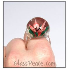 Glass Rose Floral Focal Pink and Orange Flowers /'Peace Rose/' Lampwork  Bead