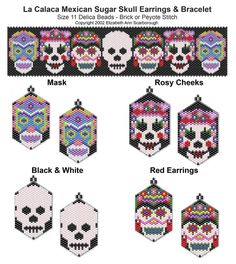 La Calaca Mexican Sugar Skull Earring and Bracelet Set | Bead-Patterns
