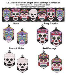 La Calaca Mexican Sugar Skull Earring and Bracelet Set | Bead-Patterns