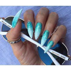 Blue ombre stiletto nails