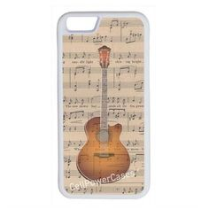 CellPowerCasesTM Sheet Music Guitar iPhone 6 (4.7) Protective V1 White... ($13) ❤ liked on Polyvore featuring accessories, tech accessories, phone cases, tech and white