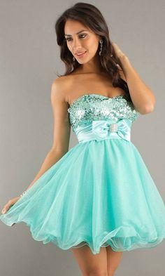 Back Zipper Sequin Embellished Front Bow A Line Skirt Short Strapless Sweetheart Empire Aqua Prom Dress