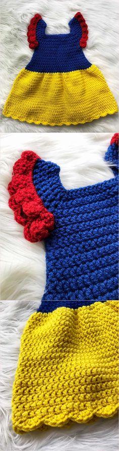 Crochet Baby Dress Disney 37 Ideas For 2019 Crochet Bebe, Crochet Girls, Cute Crochet, Crochet For Kids, Crochet Crafts, Crochet Yarn, Crochet Projects, Sewing Projects, Crochet Baby Costumes