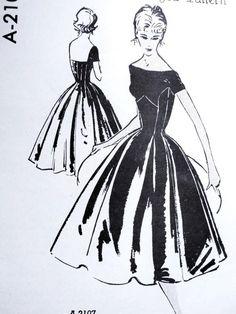 1950s Anthony Blotta Evening Dress Pattern Spadea A-2107 Beautiful Design Bateau Neckline Low Square Back Full Skirted Bust 35 Vintage Sewing Pattern FACTORY FOLDED