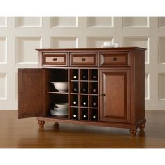 Cambridge Cherry (Red) Buffet Server and Sideboard Cabinet with Wine Storage