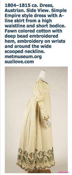 1804-1815 ca. Austrian Fawn Dress with bead embroidery. Side View. suzilove.com