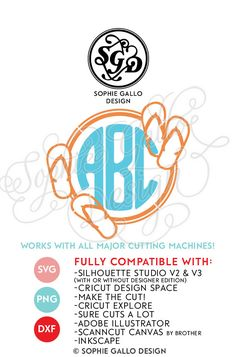 Flip Flop Round Monogram SVG, DXF & PNG digital download files Silhouette Cricut vector graphics Vinyl Cutting Machines Screen Printing