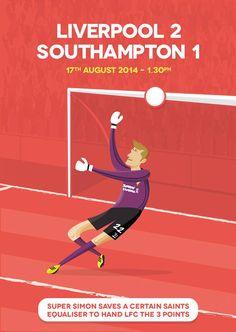 ♠ August 17, 2014 - Liverpool FC 2 - 1 Southampton FC #LFC #Artwork #Postcard