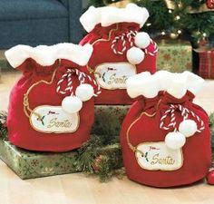 Set of 3 Santa's Large Fabric Christmas Gift Bags #diy #handmade #craft #gift #giftbox #pocket #box #wrap #ideas #creative