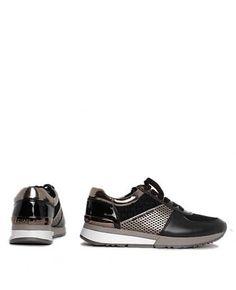 www.lafemmecorreggio.com Sneaker in pelle e camoscio. logo. Tacco 3 cm. Soletta interna in pelle. Suola in gomma. Articolo:ALLIE TRAINER METALLIC LEATHER BLK/GUN MK