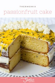 This Thermomix passionfruit cake is the ultimate refreshment after a long day. It contains delicious passionfruit curd and can be made for any time. Now this is something special. A cake made with deliciously zingy passionfruit and topped off with a passionfruit curd. Fruit Recipes, Sweet Recipes, Dessert Recipes, Cake Tins, Cake Plates, Filet Mignon Chorizo, Springform Cake Tin, Homemade Sauerkraut, Quirky Cooking