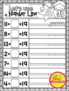 TEACH TEEN NUMBERS: How to use a number line and missing addends. 170 pages of NO PREP number printables. Perfect for Kindergarten and Pre-Kindergarten$