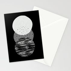 Geometric Circles in B&W Stationery Cards by Little Gold Pixel | Society6