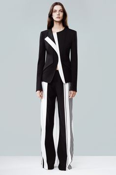 Narciso Rodriguez...black and white contrast blazer and colorblock pants...women's fashion
