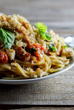 Pasta with roasted tomatoes, bacon & oregano breadcrumbs - Simply Delicious— Simply Delicious. Omg, can't wait to try this!