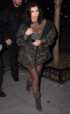 Kim Kardashian West in Kanye West for Adidas - Photo: Raymond Hall/GC Images Kim Kardashian, Kardashian Kollection, Kanye West, Girls Slip, Camo Outfits, Green Jacket, Camo Jacket, Adidas, Victoria Beckham