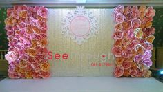 pink wedding paper flowers wall