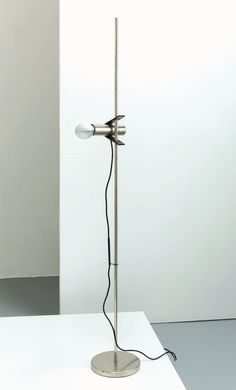 Tito Agnoli; #399 Nickeled and Enameled Metal Floor Lamp for O'Luce, 1960s.
