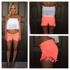 """Reck""""Lace"""" Shorts - NEON CORAL"""