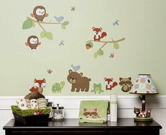 Carter's Forest Friends bedding collection features colorful and playful woodland animals - owl, bear, fox, raccoon and bear.