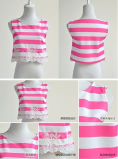 dabuwawa female crop top summer 2016 korean women's lace embroidery new slim stripe sleeveless blouse women summer pink doll-in Blouses & Shirts from Women's Clothing & Accessories on Aliexpress.com | Alibaba Group
