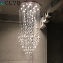 D40/50/60 CM controle remoto luxo K9 candelabro de cristal de luz de aço inoxidável pendente de teto hall do hotel iluminação lustre(China (Mainland))